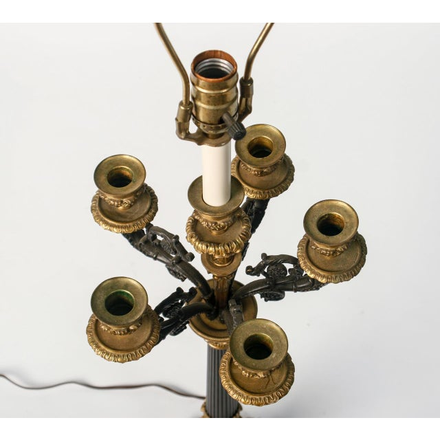Bronze and Black Candelabra Made Into Lamp - Image 5 of 9