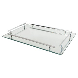 French Art Deco Mirrored Tray with Rectangular Polished Chrome Handles For Sale