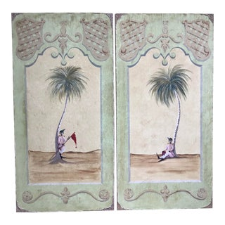 Pair of Very Decorative Paintings on Canvas For Sale