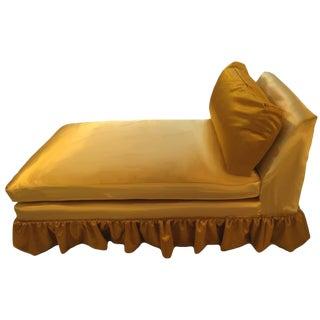 Mid-Century Skirted Gold Velvet & Silk Chaise For Sale