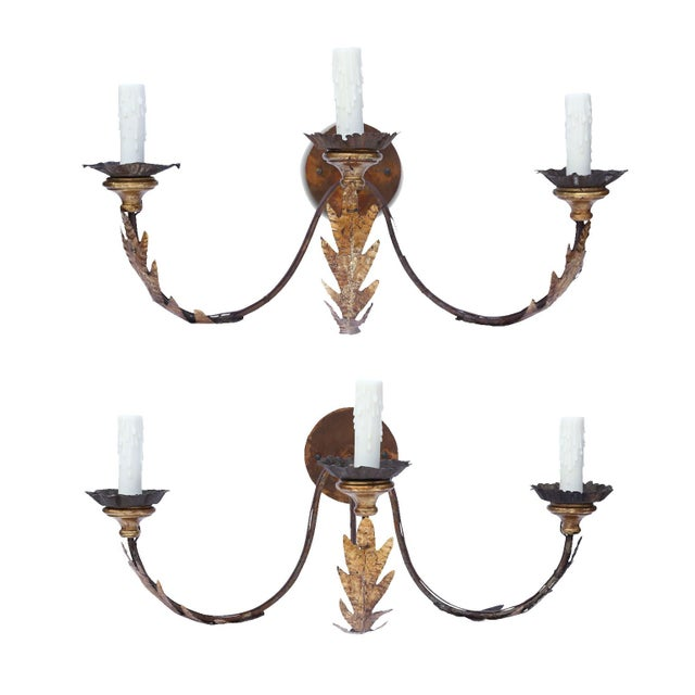 Pair of Large Gilt-Iron Sconces For Sale - Image 13 of 13
