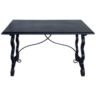 19th Century Spanish Baroque Trestle-Refectory Table on Lyre-Shaped Legs For Sale