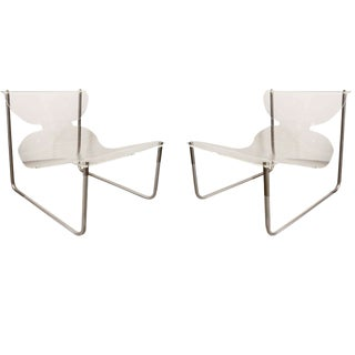 1960s Mid-Century Modern Charles Hollis Jones Lucite and Chrome Sling Chairs - a Pair For Sale