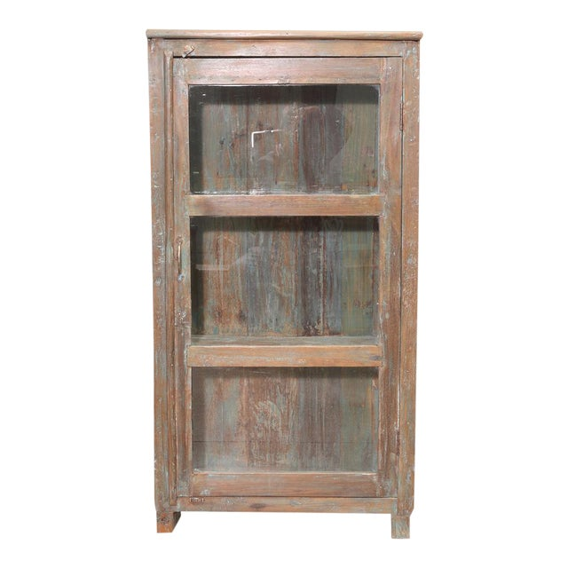 British Colonial Glass Cabinet For Sale