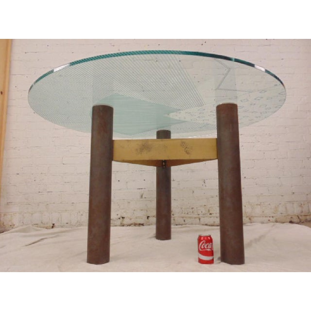 Last Call 1986 Modernage Miami Postmodern Glass & Brass Geometric Dining Table - Image 2 of 6
