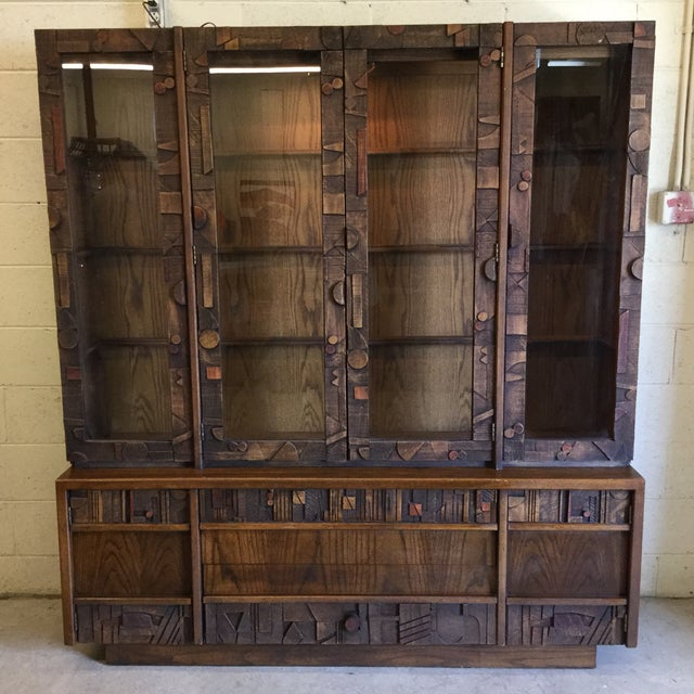 Lane Brutalist Style Lighted China Cabinet For Sale - Image 10 of 10