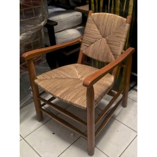 Charlotte Perriand Iconic Rush Arm Chair in Genuine Vintage Condition
