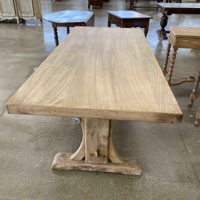 Late 19th Century French Bleached Walnut Trestle Table For Sale - Image 5 of 13