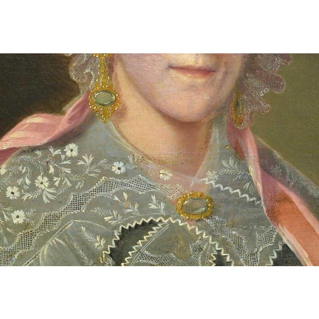 Americana Mid 19th C. Vintage Framed Portrait of an American Woman Oil Painting For Sale - Image 3 of 6