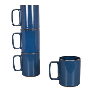 Set of Hasami Porcelain Mugs, Gloss Blue For Sale