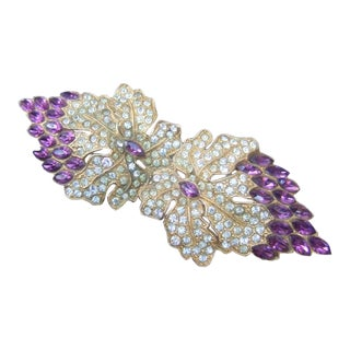 1940s Amethyst Crystal Art Deco Grape Vine Brooch For Sale