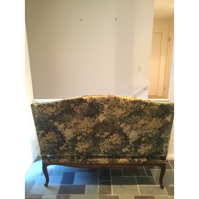 French 19thC Settee Covered in Scalamandre Marly Forest Green Fabric For Sale - Image 11 of 12