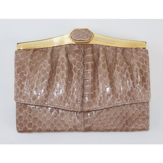 Judith Leiber Taupe Snakeskin Wallet For Sale - Image 13 of 13