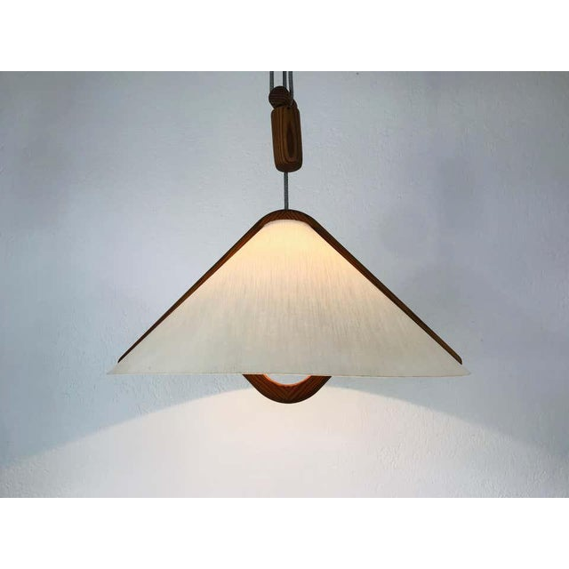 Mid-Century Modern Adjustable Midcentury Wooden Pendant Lamp with Counterweight by Domus, 1960s For Sale - Image 3 of 13