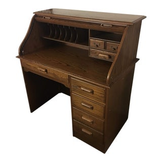 19th Century Traditional Wooden Roll Top Desk