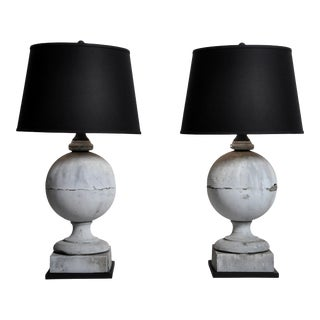 French Zinc Architectural Finial Lamps with Shades - a Pair For Sale