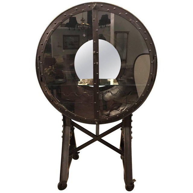 Large and Impressive Industrial Ships Port Hole Bar Cabinet with Mirrored Back For Sale - Image 11 of 12