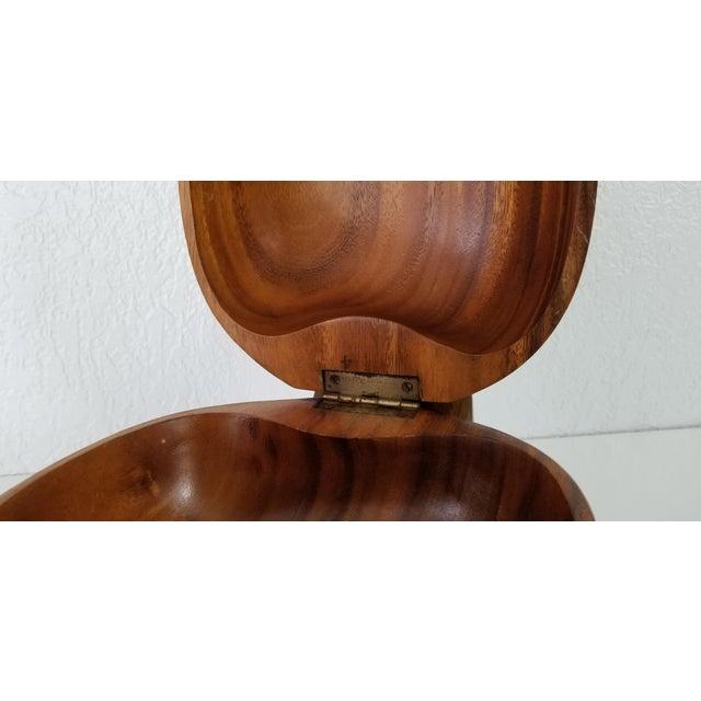 Wood Large Sculptural Walnut Shape Decorative Wood Box For Sale - Image 7 of 9