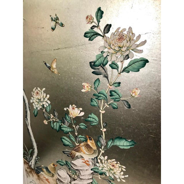 Handpainted Chinoiserie Wallpaper Panel, Silver Metal Leaf With Birds For Sale - Image 4 of 8