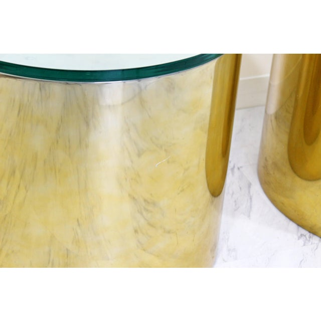 1970s Mid-Century Modern Pair of Brass Round Drum Side Tables Paul Mayen Habitat For Sale - Image 5 of 11