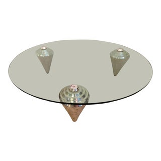 Mid-Century Round Glass Cocktail Table W/ Tessellated Stone Legs