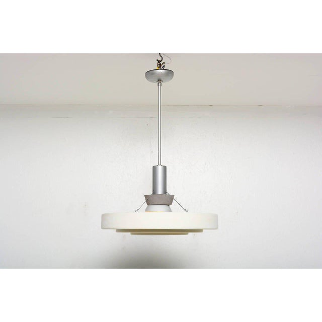1960s Architectural Aluminum Shade Hanging Lamp For Sale - Image 5 of 10