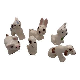 Vintage Mexican Tonala Ceramic Animal Figurines - Set of 6 For Sale