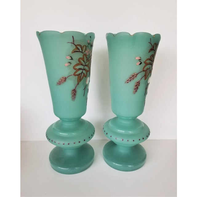 Turquoise Victorian Hand Painted Blue Green Bristol Frosted Glass Vases - a Pair For Sale - Image 8 of 13