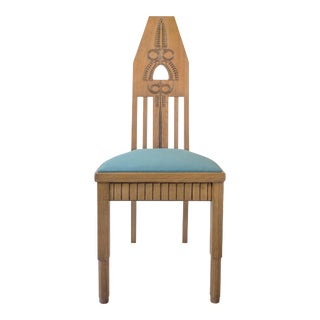 Manner of Eliel Saarinen, Set of Finnish Carved Oak Jugend Chairs, 6 Available For Sale