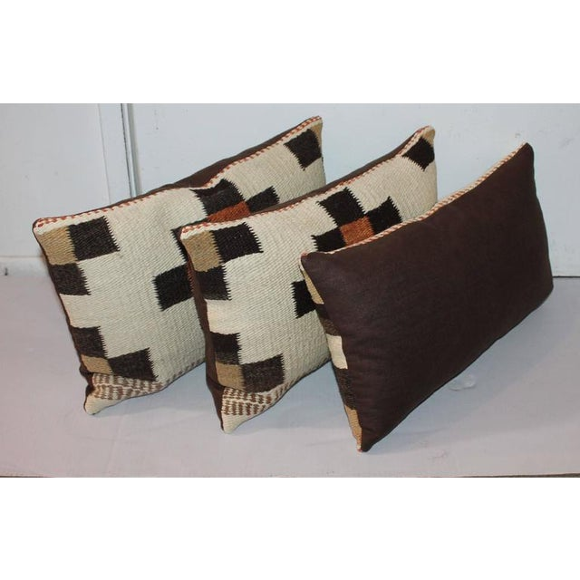 Early 20th Century Group of Three Navajo Indian Weaving Bolster Pillows For Sale - Image 5 of 6