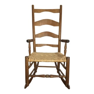 Farmhouse Rocking Chair With Rush Weave Seat For Sale