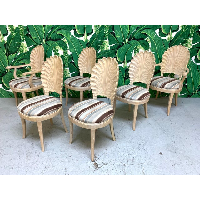 Set of six Venetian grotto shell or scalloped back style dining chairs in solid wood with upholstered seats. Very good...