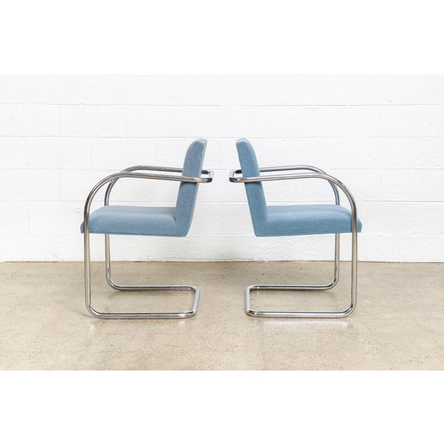 Mies Van Der Rohe Blue Brno Dining Chairs For Sale In Detroit - Image 6 of 11
