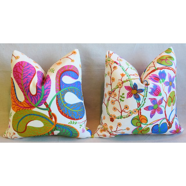 "Designer Josef Frank ""Teheran"" Floral Linen Feather/Down Pillows 18"" Square - Pair For Sale In Los Angeles - Image 6 of 11"