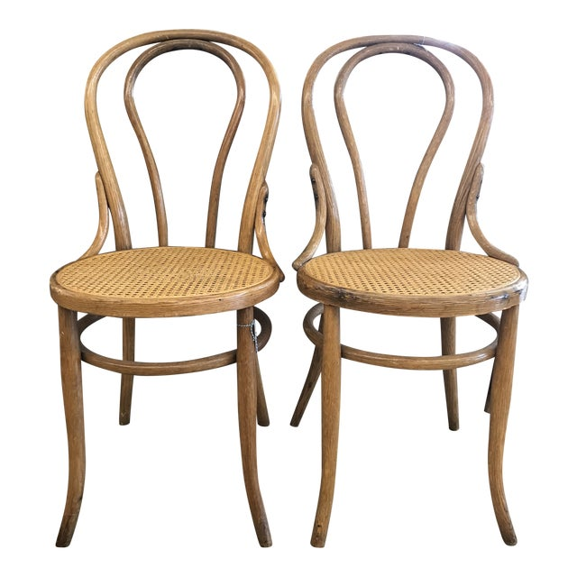 Cane Seat Bistro Chairs In The Style Of Michael Thonet A Pair