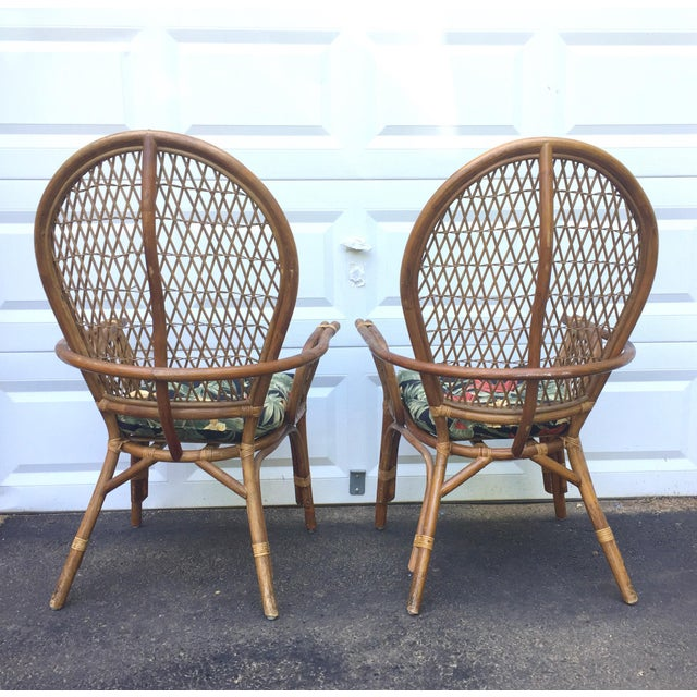 Vintage Modern Bamboo & Rattan High Back Chairs For Sale In New York - Image 6 of 11