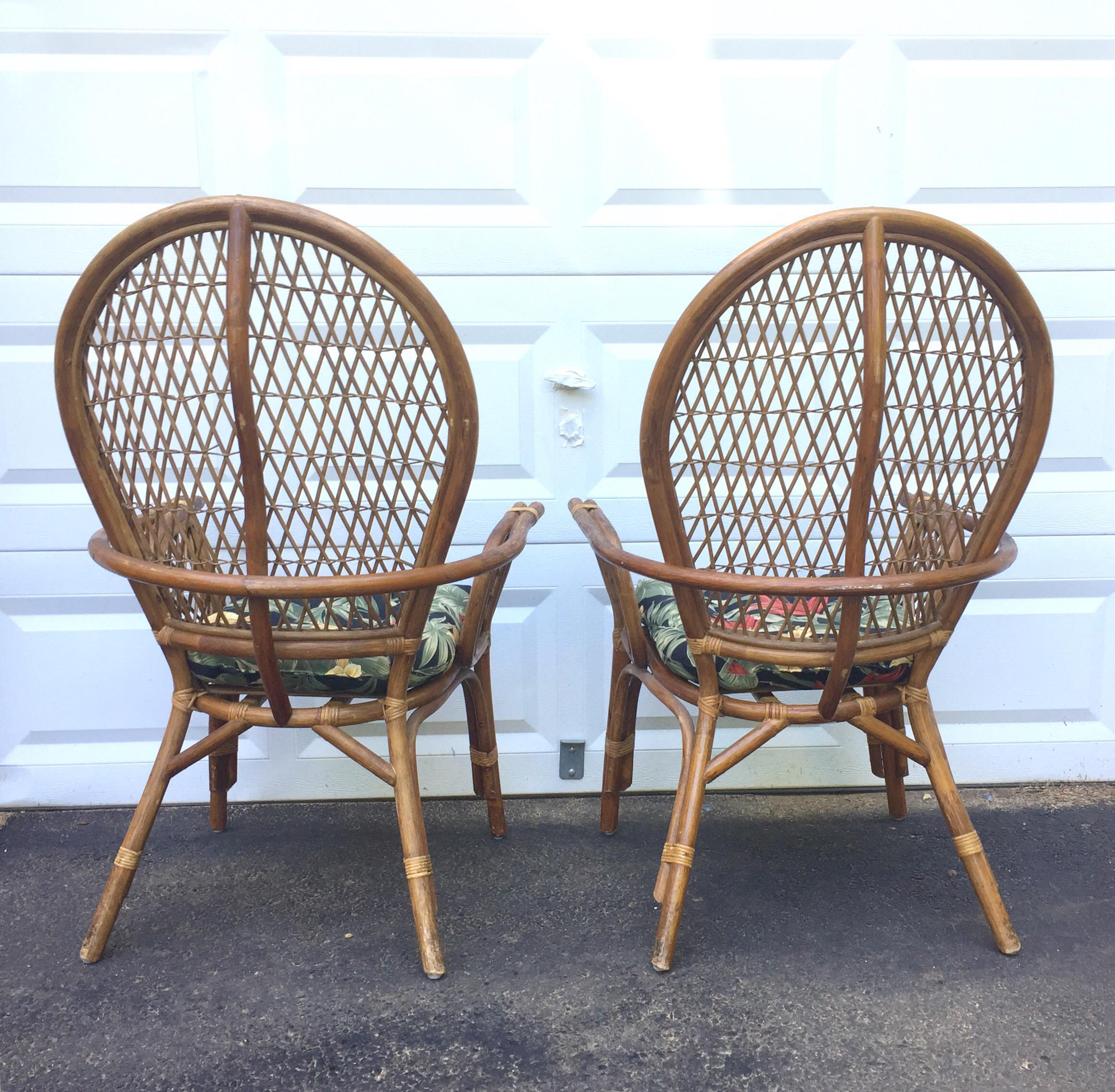 Vintage Modern Bamboo U0026 Rattan High Back Chairs   Image 6 Of 11
