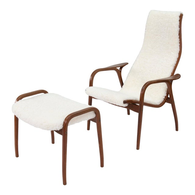 Vintage Yngve Ekstrom for Swedese Lamino Chair and Ottoman For Sale