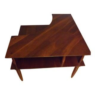 Mid-Century Walnut Corner Table