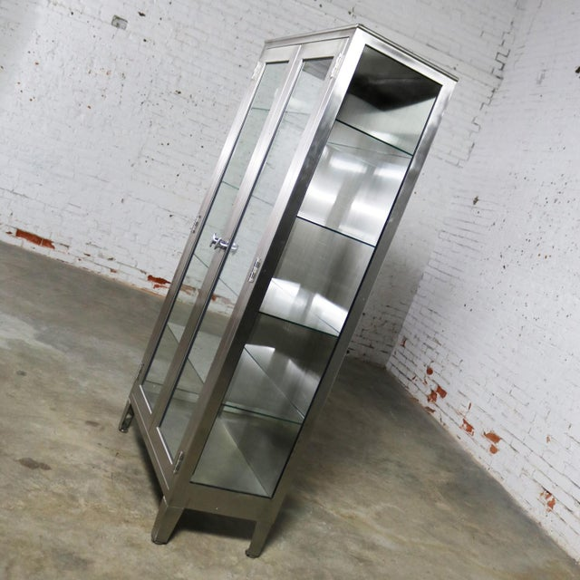 Glass Vintage Stainless Steel Industrial Display Apothecary Medical Cabinet With Glass Doors and Shelves For Sale - Image 7 of 13