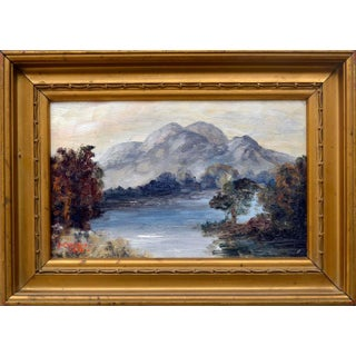 """Early 20th Century """"Scottish Reflections, Ben Venue and Loch Achray Scotland"""" Landscape Oil Painting, Framed For Sale"""