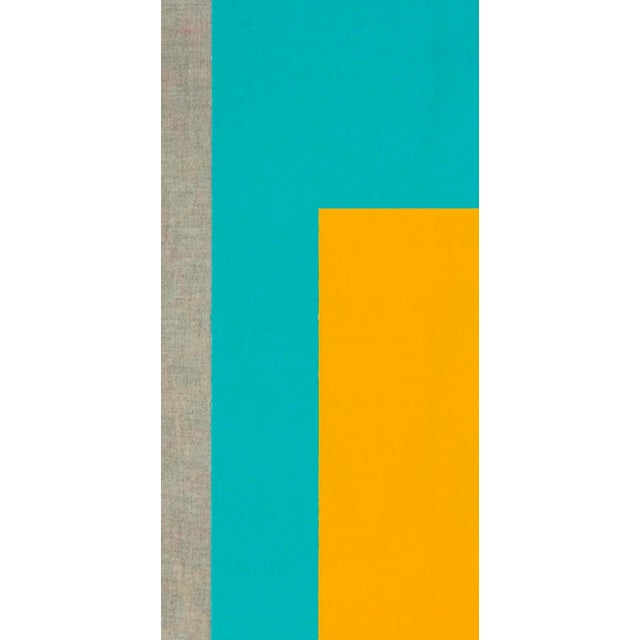 This contemporary abstract painting by American artist Brandon Woods features bold, saturated, turquoise and yellow fields...
