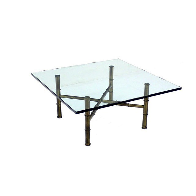 X Base Brass Faux Bamboo Square Glass Top Coffee Table For Sale In New York - Image 6 of 8