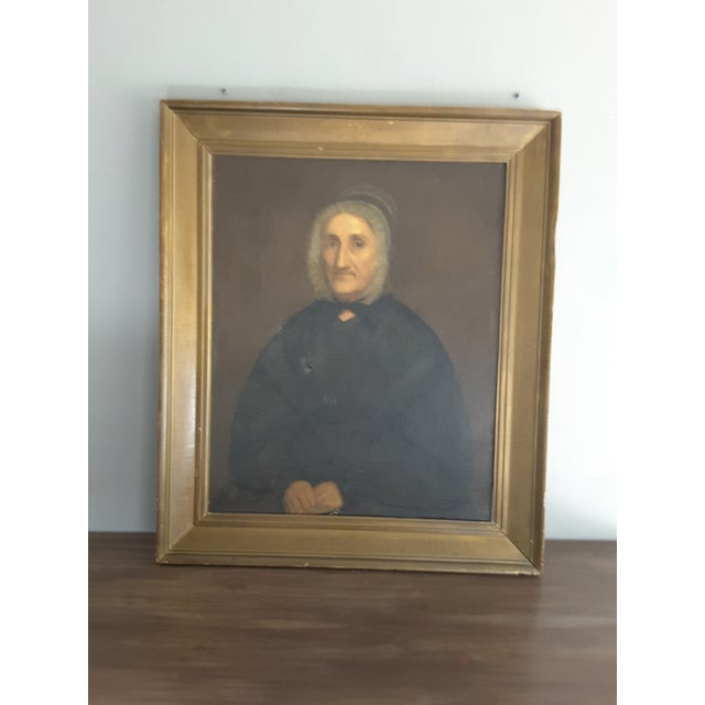 Antique Gothic Maiden Portrait Oil Painting For Sale - Image 4 of 8