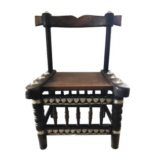"Old Low African Chief Chair I Coast 28"" H by 17"" W For Sale"
