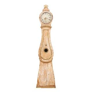 19th Century Swedish Natural Wood Finish Floor Clock For Sale