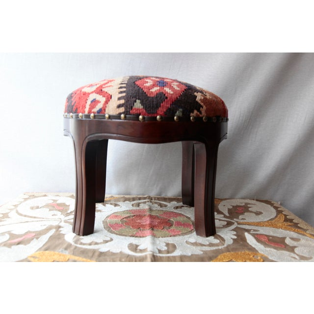 Modern Kilim Upholstery Footstool-Round Kilim Stool For Sale In Baltimore - Image 6 of 7