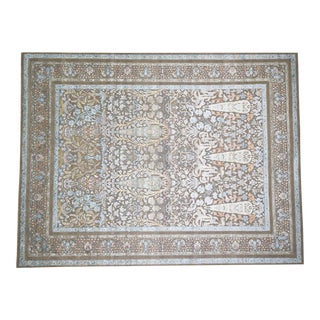 Cypress Tree Silk With Oxidized Wool Hand-Knotted Rug- 9′1″ × 12′ For Sale