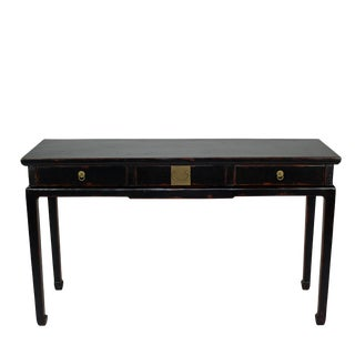 Antique Asian Black Lacquer Three Drawer Console