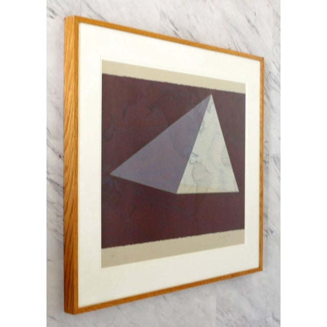"""Contemporary 1980s Abstract Framed Lithograph 5/50 """"Four Corners Project - World View"""" Print by David Barr For Sale - Image 3 of 10"""
